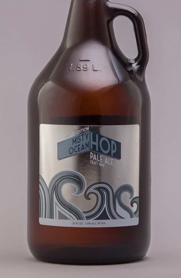64oz Glass Growler Front Back Rectangle